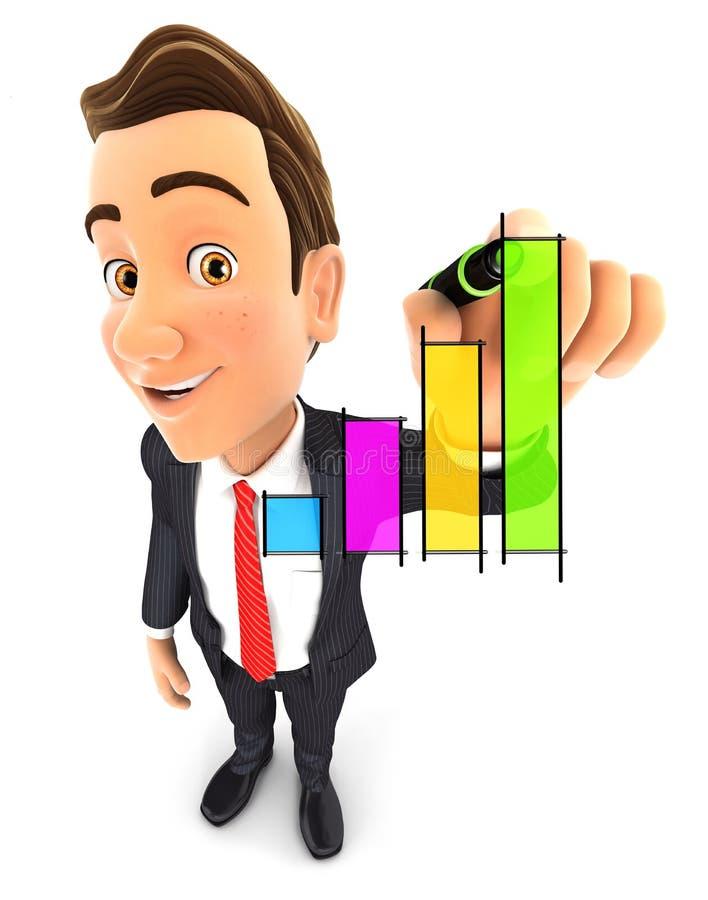 grafico disegnato a mano dell'uomo d'affari 3d illustrazione di stock
