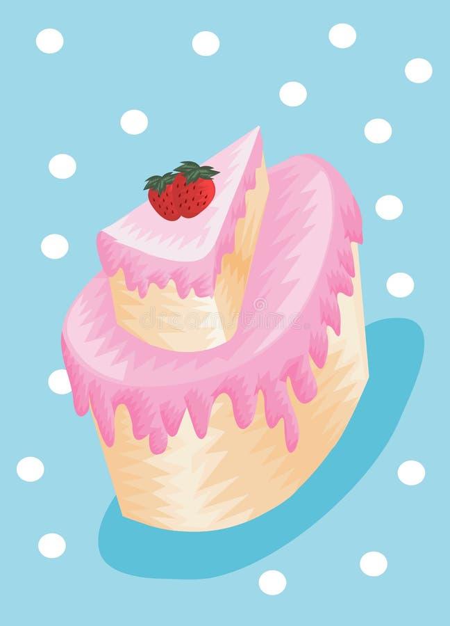 Grafico dolce del dolce della fragola con colore dolce illustrazione di stock
