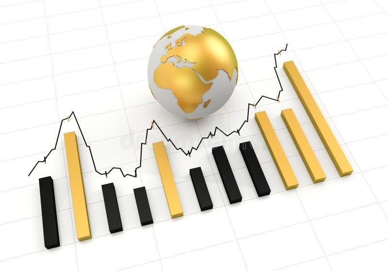 Grafico dorato del globo fotografia stock libera da diritti