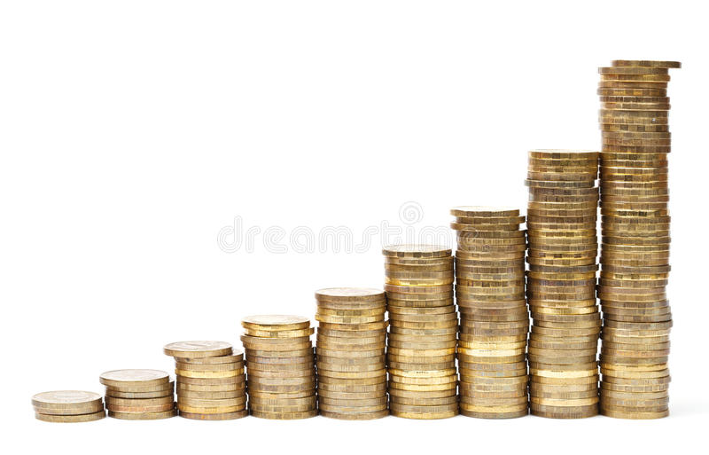Grafico dorato delle monete fotografia stock libera da diritti