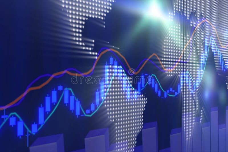 Grafico e istogramma del mercato azionario illustrazione di stock