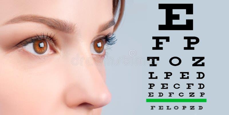 Grafico femminile dell'esame di visione di vista e dell'occhio immagine stock libera da diritti