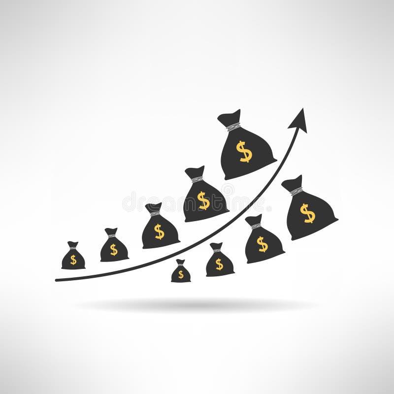 Grafico finanziario con le borse dei soldi Aumento di reddito illustrazione di stock