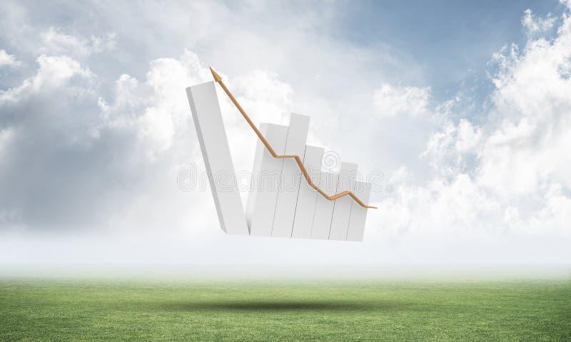 Grafico finanziario crescente sul prato verde illustrazione di stock