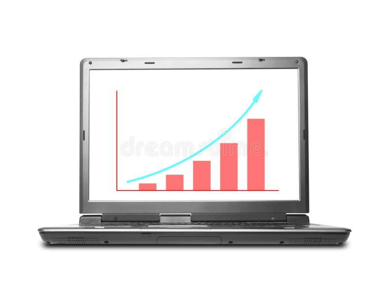 Grafico finanziario del computer portatile del computer illustrazione vettoriale