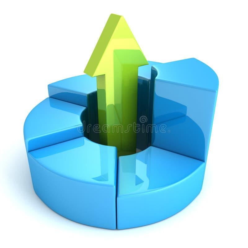 Grafico finanziario della torta in aumento blu con la freccia crescente verde illustrazione vettoriale