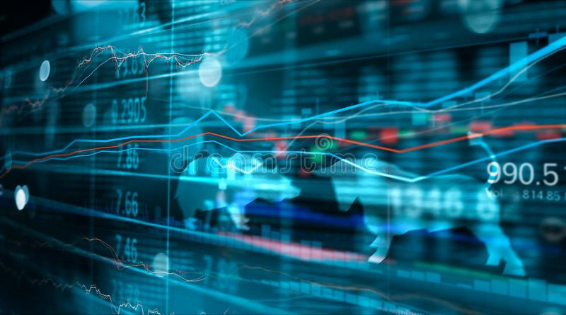 Grafico finanziario di commercio di numeri e dei forex del mercato azionario, affare e dati del mercato azionario fotografie stock