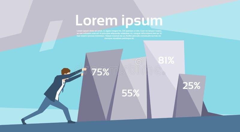 Grafico finanziario di spinta dell'uomo di affari che cresce concetto di crescita di successo illustrazione di stock