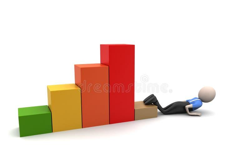 Grafico finanziario nella perdita illustrazione vettoriale
