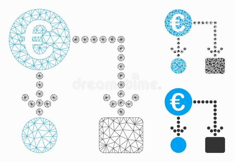 Grafico a flusso in euro Modello di rete Mesh e Icona Mosaico triangolo illustrazione vettoriale