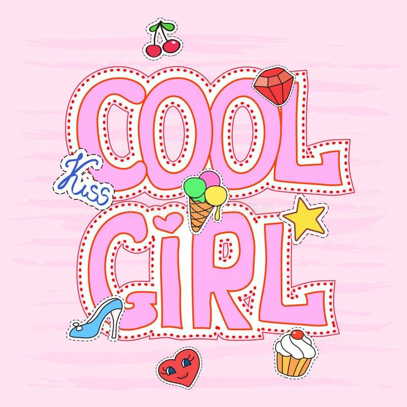 Grafico fresco con le toppe, illustrazione graziosa di slogan della ragazza per progettazione della maglietta royalty illustrazione gratis