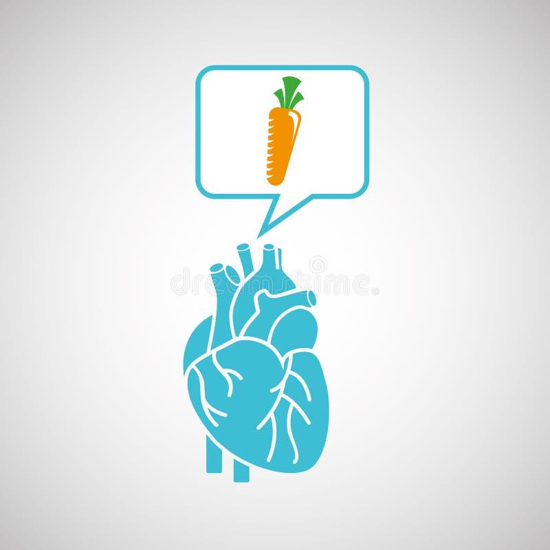 Grafico fresco dell'icona della carota del cuore blu illustrazione di stock