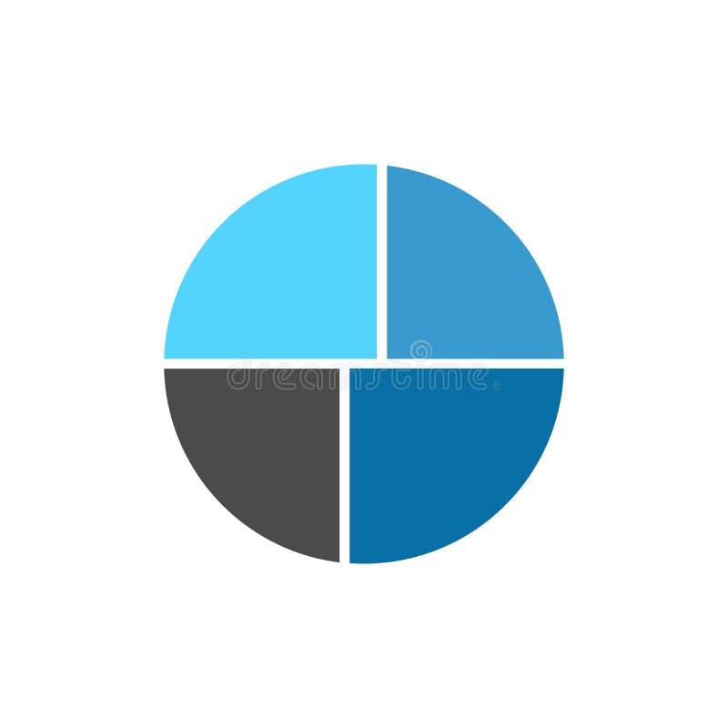 Grafico infographic del cerchio di vettore con quattro parti Modello per il diagramma, il grafico, la presentazione ed il grafico illustrazione di stock