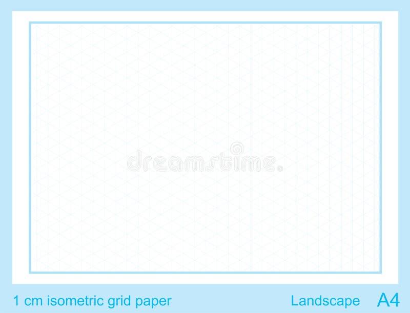 1 grafico isometrico di griglia di griglia di cm A4 di vettore isometrico di carta isometrico di griglia illustrazione vettoriale