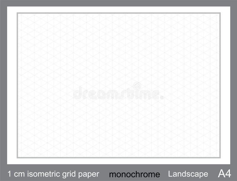 1 grafico isometrico di griglia di griglia di cm A4 di vettore isometrico di carta isometrico di griglia illustrazione di stock