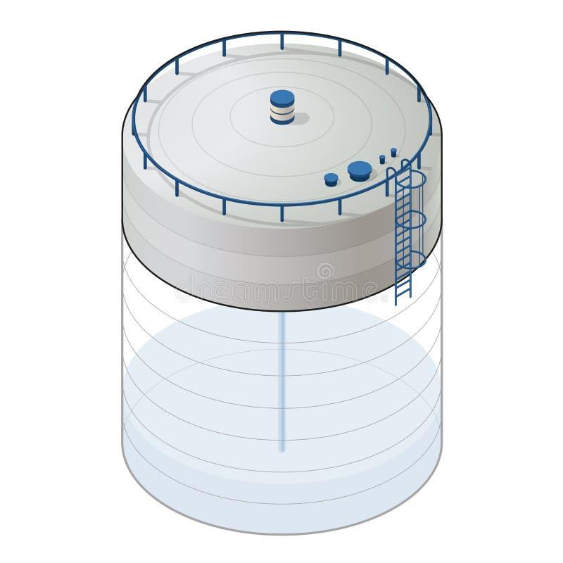Grafico isometrico di informazioni della costruzione del serbatoio di acqua sotterraneo Rifornimento sotteraneo del bacino idrico illustrazione di stock