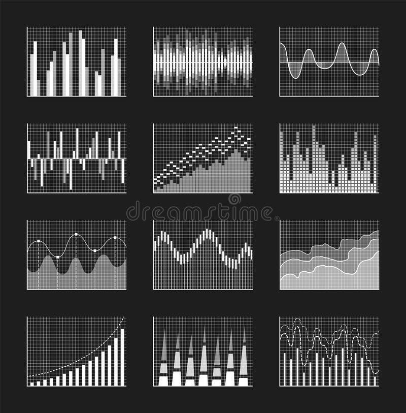 Grafico messo sull'illustrazione nera di vettore del manifesto illustrazione di stock