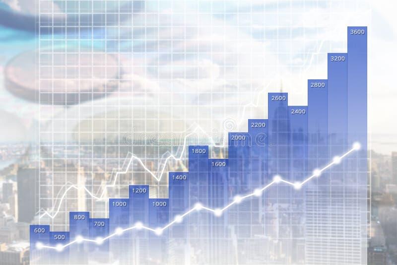 Grafico moderno finanza/di affari ricoperto sull'orizzonte di Manhattan royalty illustrazione gratis