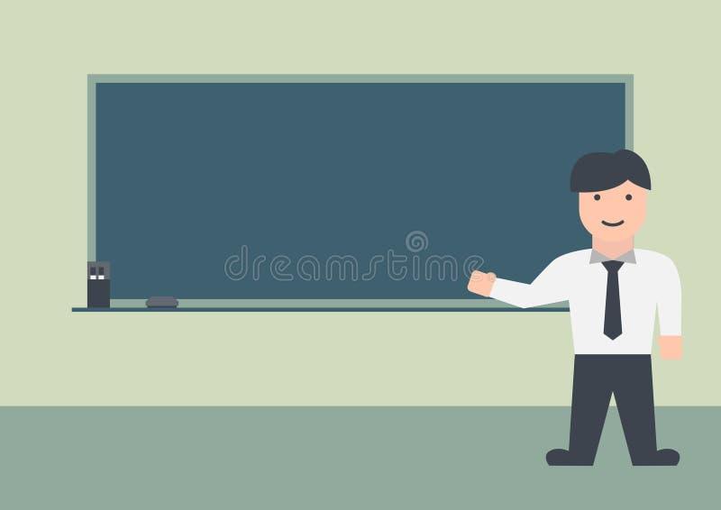 Grafico piano della lavagna e dell'insegnante maschio fotografie stock