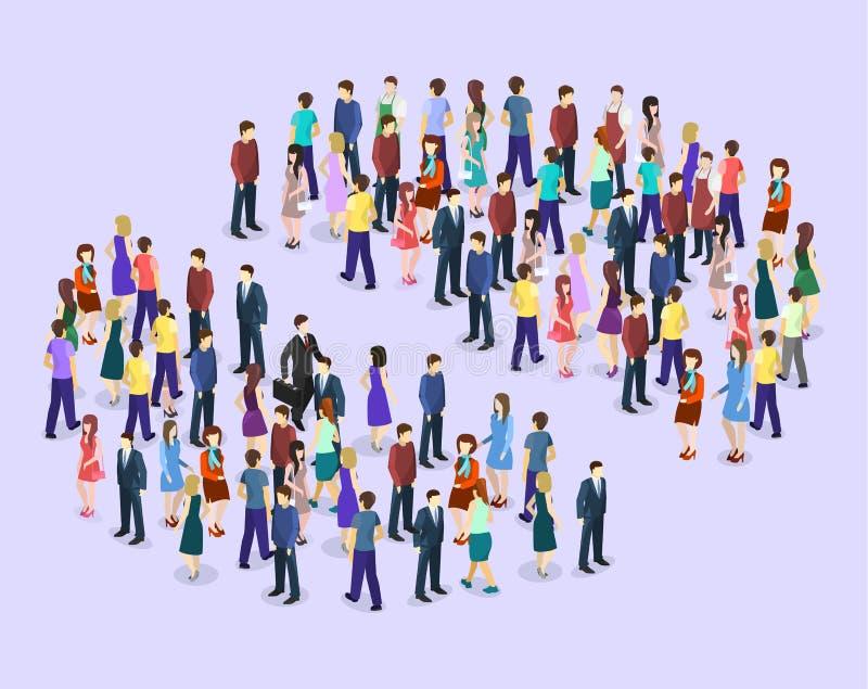 Grafico piano isometrico di Infographic che consiste di una folla della gente royalty illustrazione gratis