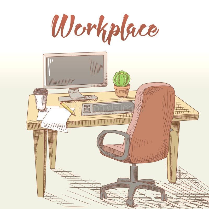 Grafico professionista Hand Drawn Workplace con la Tabella, il computer e la compressa Lavoro creativo illustrazione vettoriale
