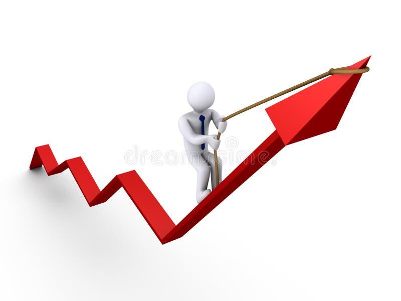 Grafico rampicante dell'uomo d'affari illustrazione di stock