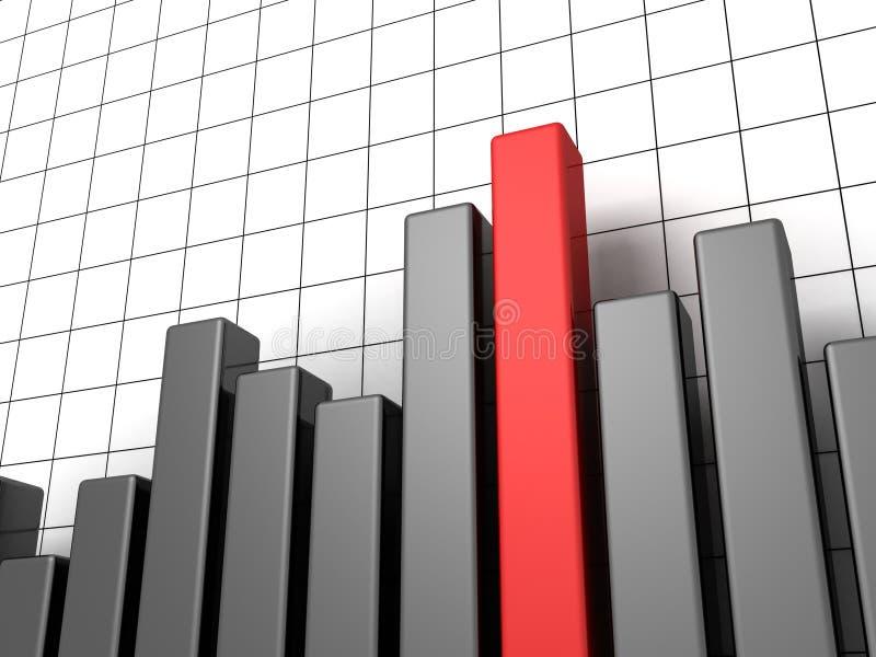 Grafico scuro metallico di affari con una colonna rossa illustrazione di stock