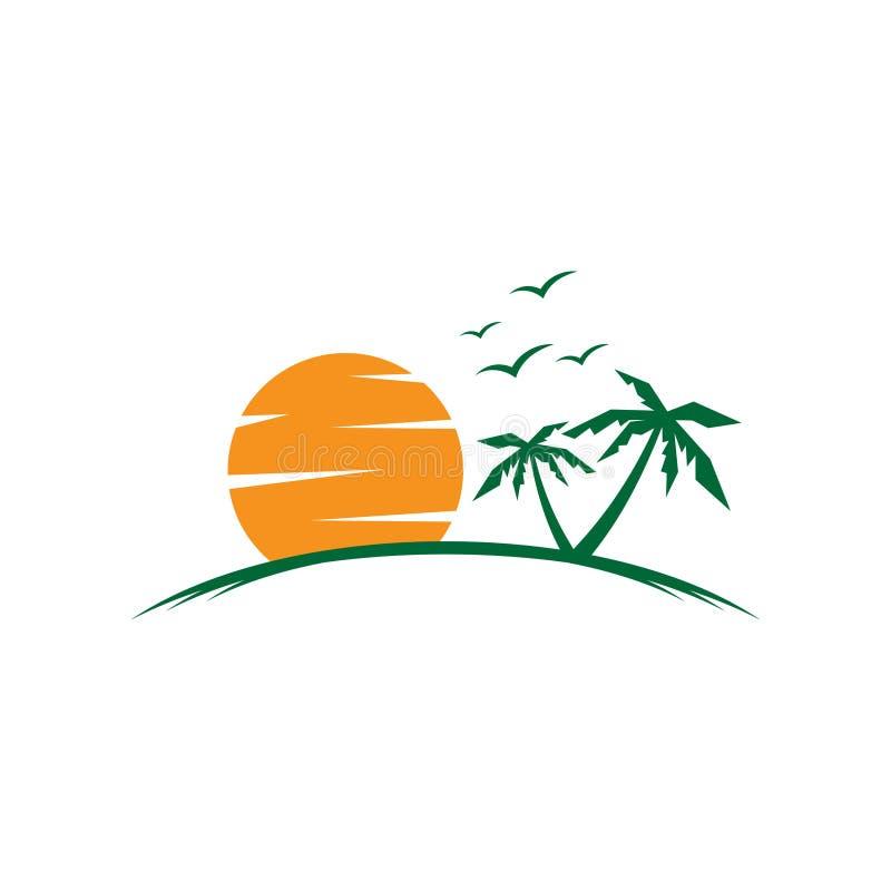 Grafico semplice, vacanze estive sulla spiaggia tropicale con il tramonto, palme ed uccello royalty illustrazione gratis