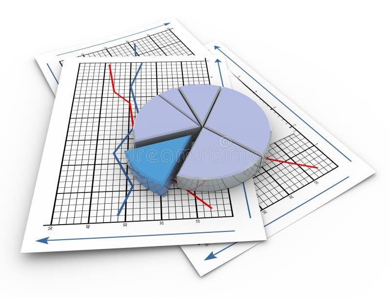 grafico a settori 3d sul documento di grafico illustrazione vettoriale