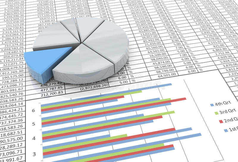 grafico a settori 3d sulla priorità bassa del foglio elettronico illustrazione di stock