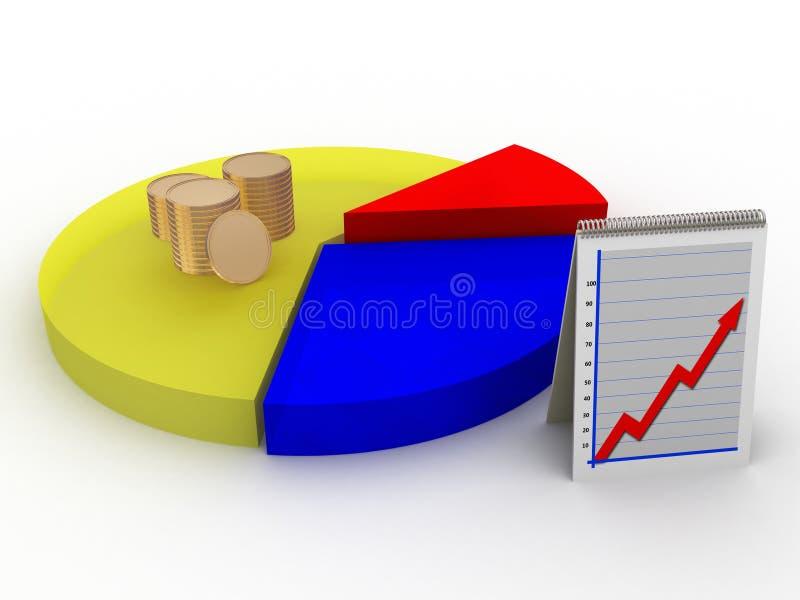 Grafico a settori con le monete illustrazione di stock