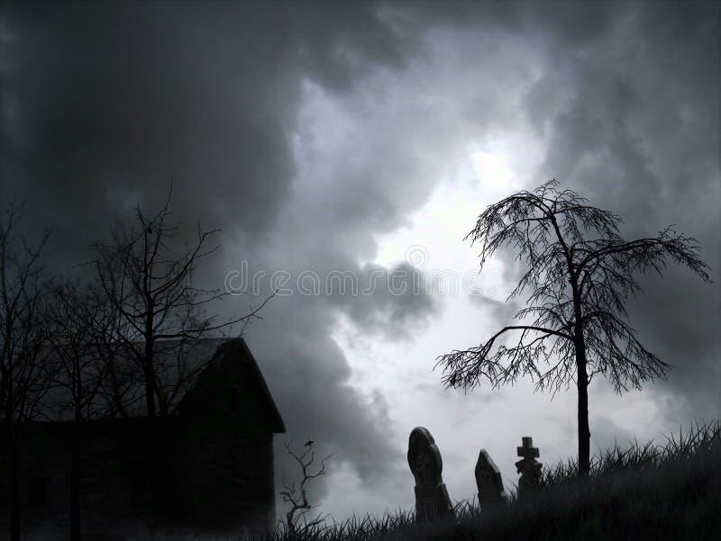 Grafico spettrale del cimitero fotografie stock libere da diritti
