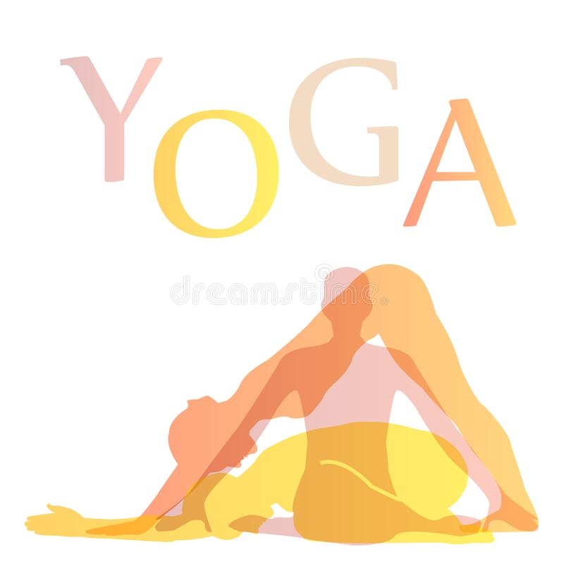 Grafico strano di forma fisica con le pose di yoga royalty illustrazione gratis