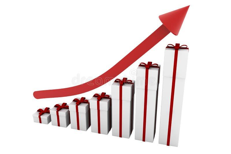 Grafico a strisce di natale con la freccia illustrazione di stock