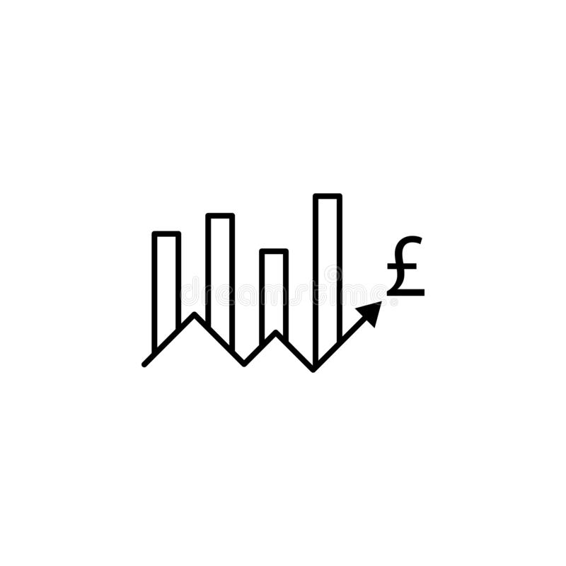 Grafico, su, freccia, icona della libbra Elemento dell'illustrazione di finanza I segni e l'icona di simboli possono essere usati illustrazione vettoriale