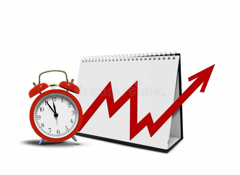 Grafico sul calendario e sulla sveglia da tavolino fotografia stock