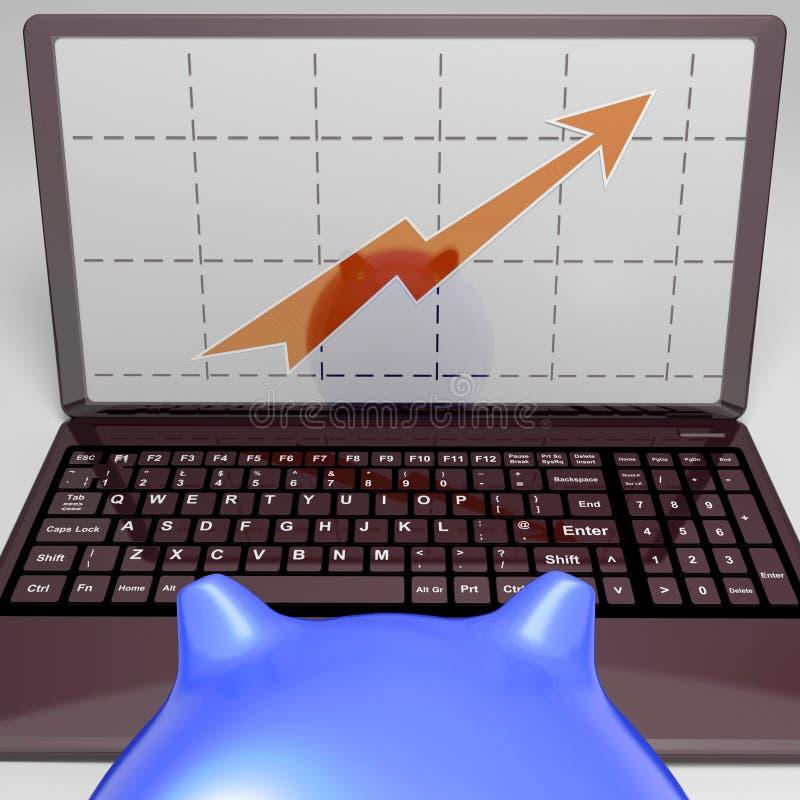 Grafico sul risultato di vendite di aumento di manifestazioni dello schermo illustrazione di stock