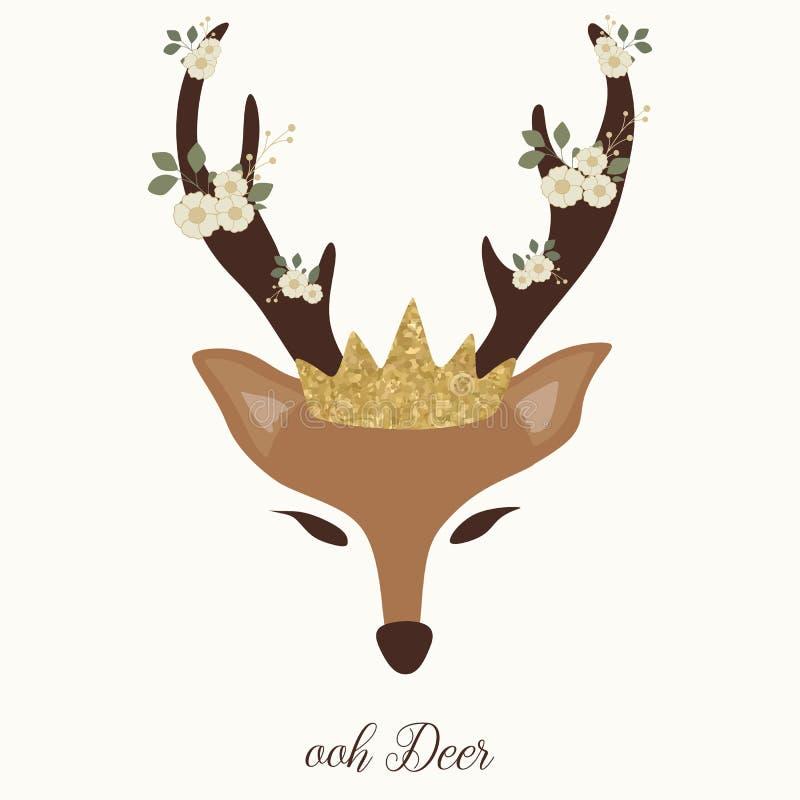 Grafico sveglio dei cervi con il corno, il fiore e la corona illustrazione vettoriale