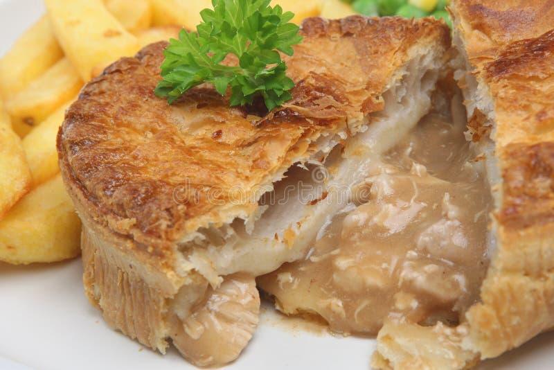Grafico a torta & patatine fritte del pollo fotografie stock