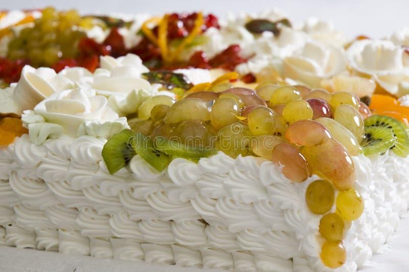 Grafico a torta con salsa dura e frutta immagine stock