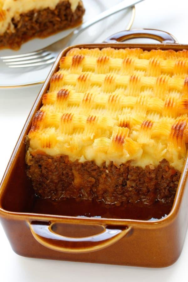 Grafico a torta del cottage, grafico a torta del pastore fotografia stock