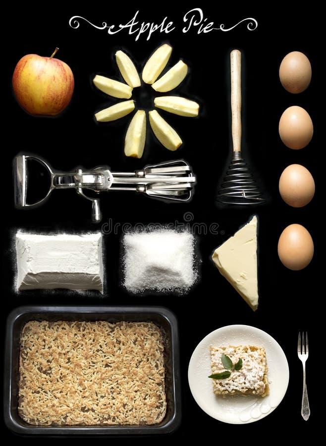 Grafico a torta di Apple Ricetta e ingrediens del dolce fotografia stock