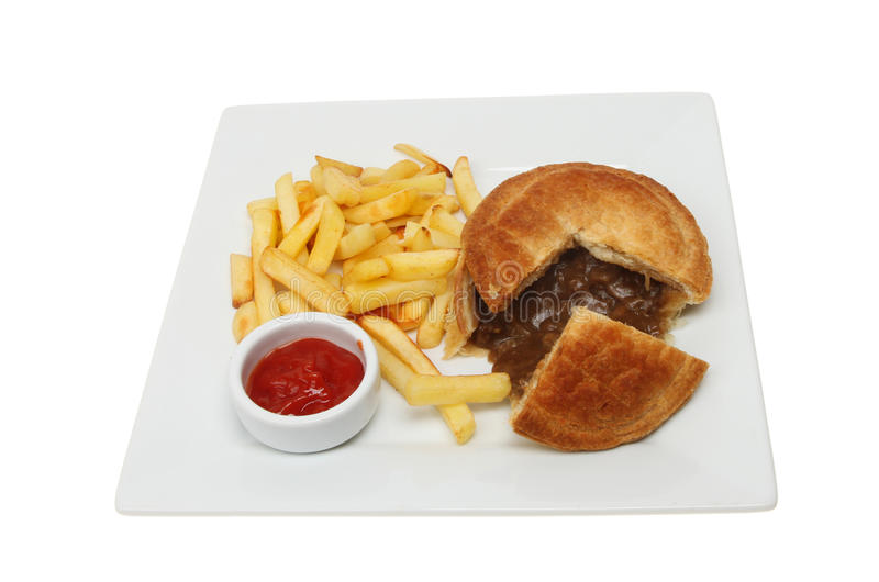Grafico a torta e patatine fritte della bistecca fotografie stock libere da diritti