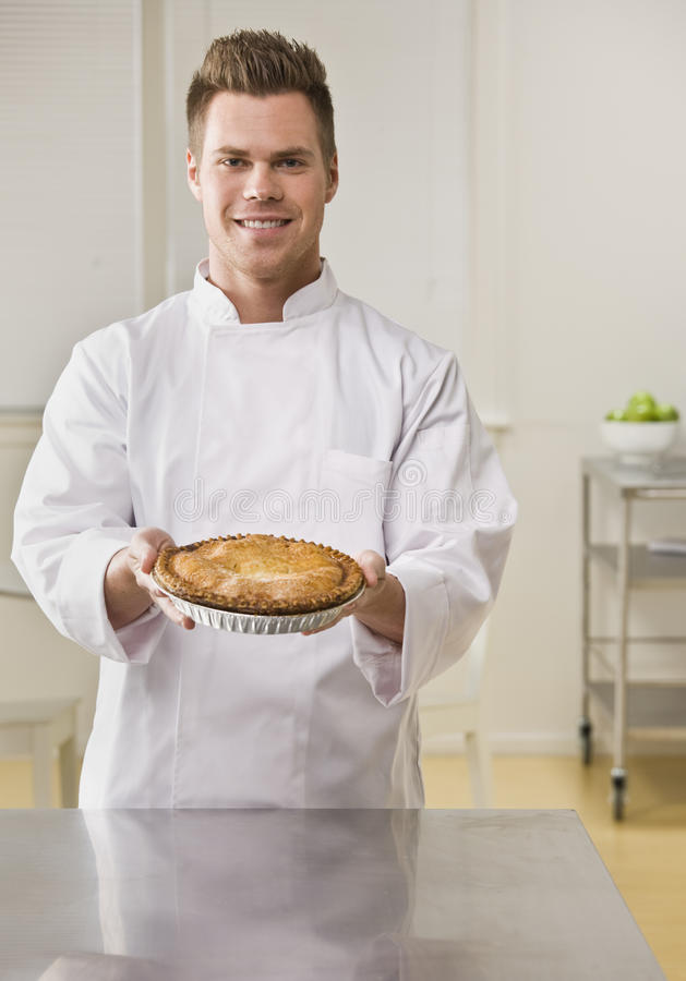grafico a torta maschio attraente fotografia stock