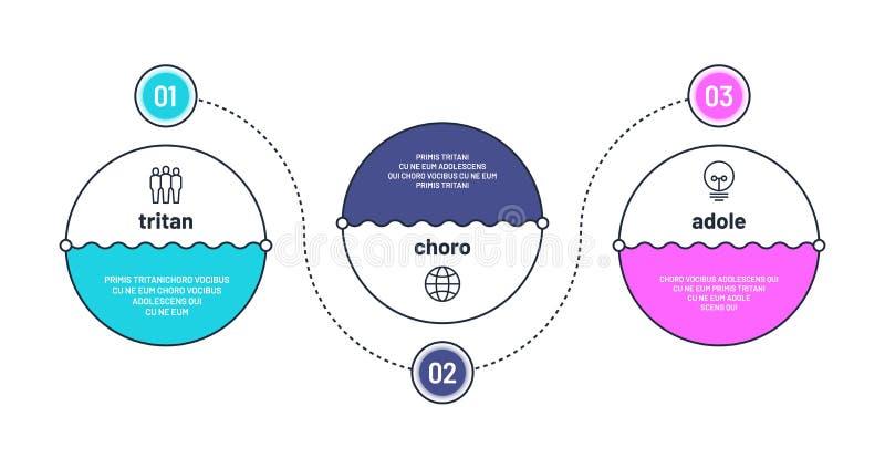 Grafico trattato 3 elementi infographic di punto Disposizione di flusso di lavoro Progresso di opzioni di affari tre con i numeri royalty illustrazione gratis
