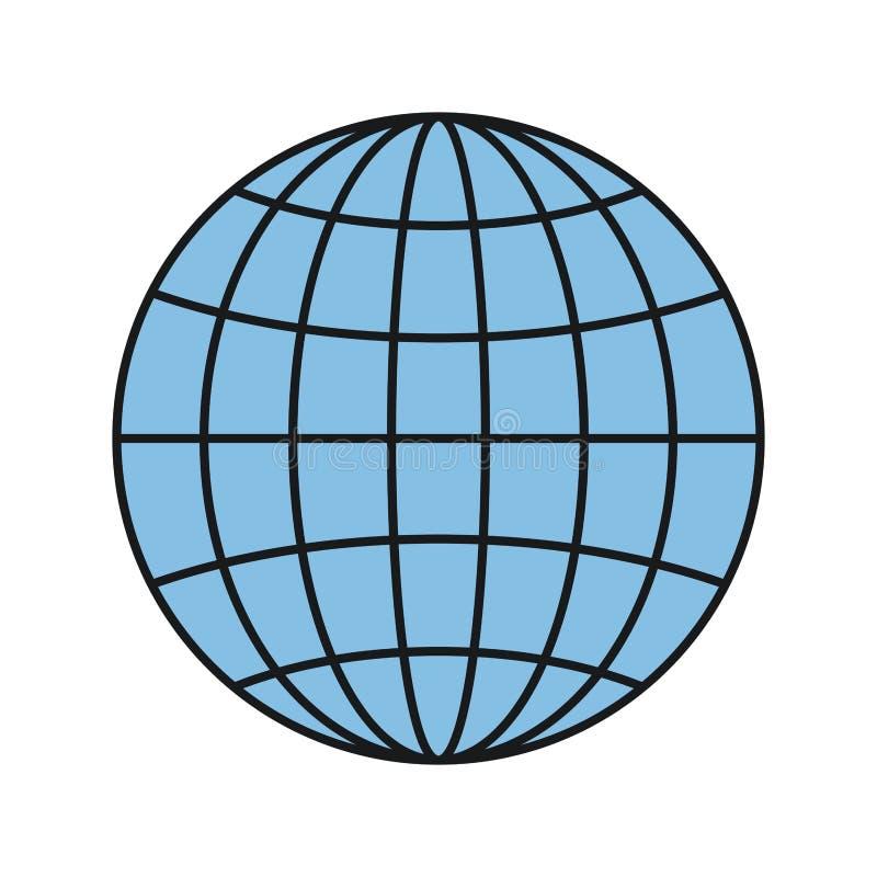 Grafico variopinto del mondo della terra del globo di vista frontale della siluetta con le linee royalty illustrazione gratis