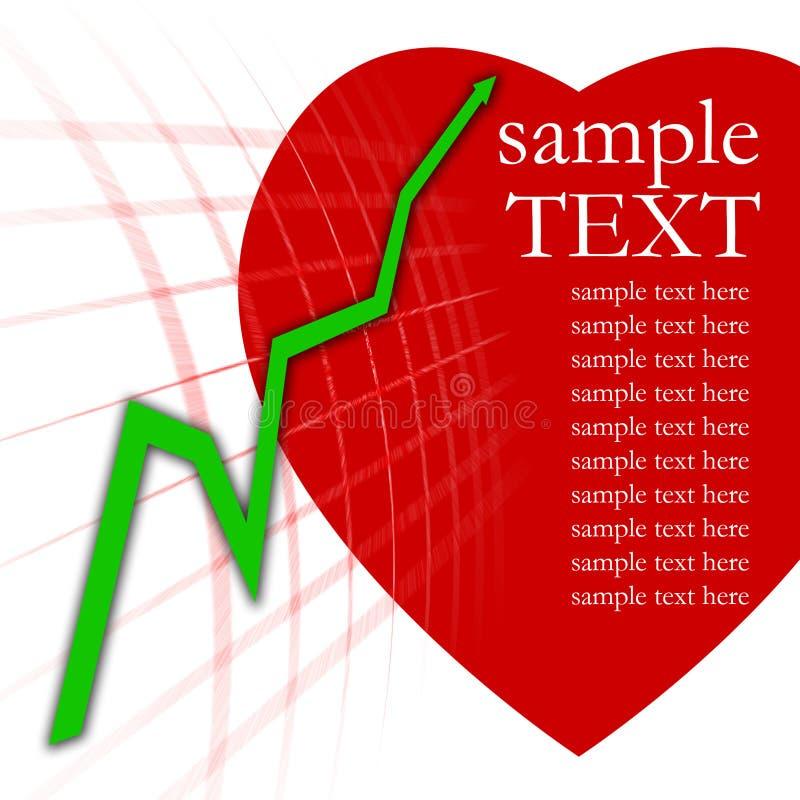 Grafico verde della freccia e cuore rosso immagini stock libere da diritti