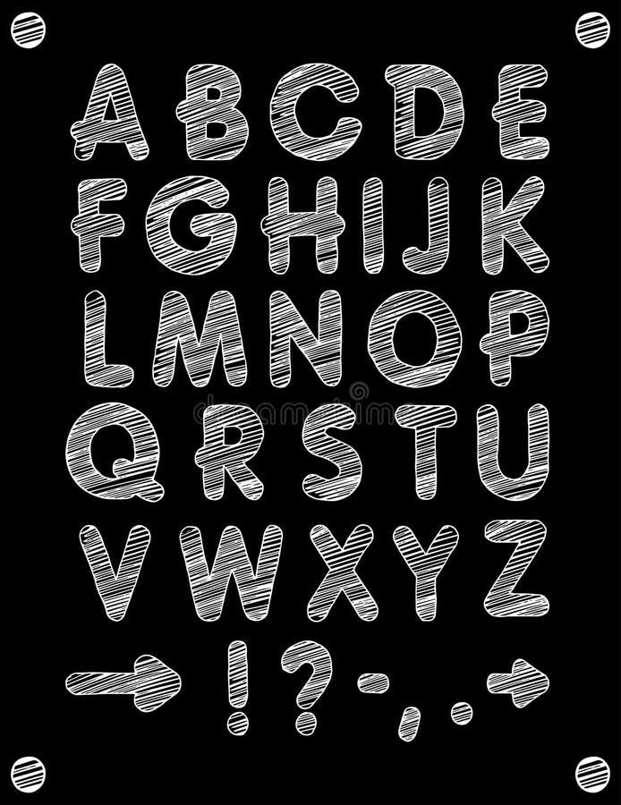 Graficzna chrzcielnica Handmade serif chrzcielnica, cienieje linie Ręka rysujący kaligrafii literowania abecadło również zwrócić  royalty ilustracja