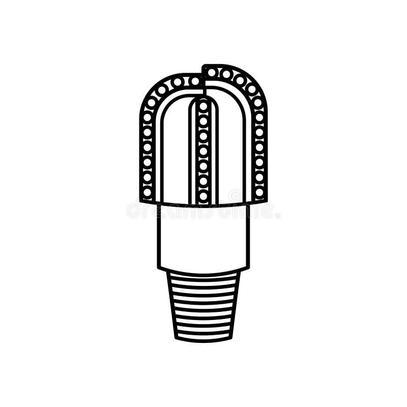 Graficzna czarna płaska wektorowa kontur ikona odizolowywająca; 3 PDC ostrzy dr ilustracja wektor