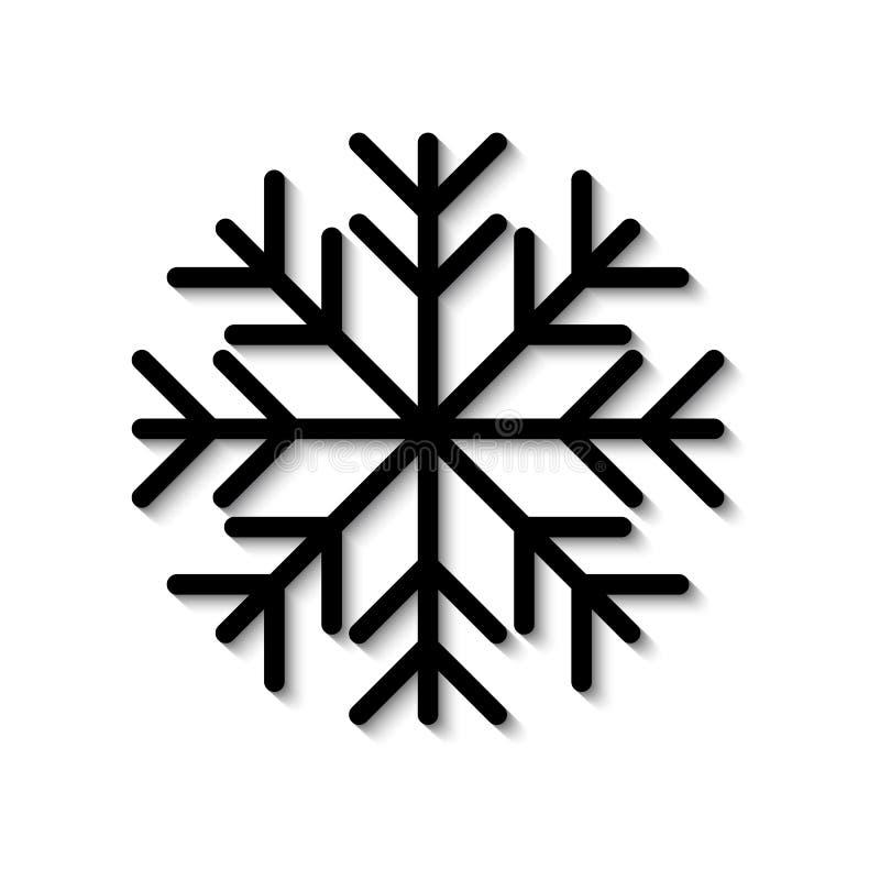 Graficzna czarna płaska wektorowa płatek śniegu ikona odizolowywająca z cieniem ilustracji